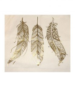 tygkasse vinyltryck fjädrar guld