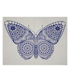 tygkasse vinyltryck fjäril blå
