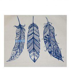 tygkasse vinyltryck fjädrar blå