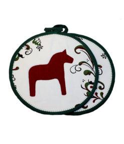 grytlappar dalahäst röd